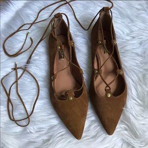 Halogen Cognac Lace Up Ballerina Flats NWOT